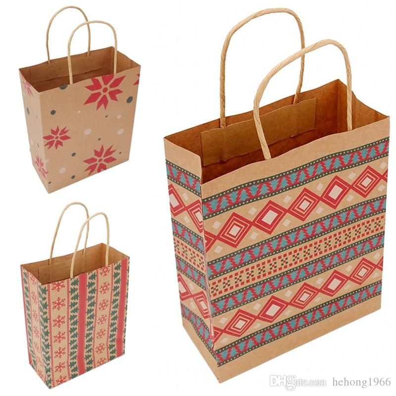عيد الميلاد حقيبة ورق كرافت الهندسي الطباعة الاطفال كاندي حقائب هدايا التفاف أكياس للحزب عيد الميلاد لوازم 1 06bm E1