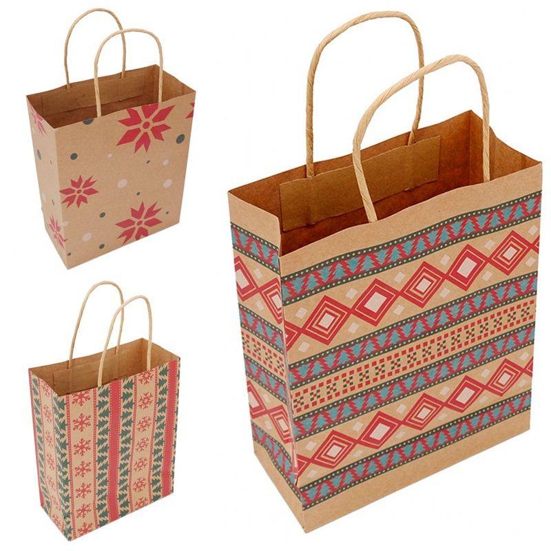 Natale Borsa della carta kraft geometrica stampa bambini Candy Borse Regali Wrap Bags For Xmas Party Forniture 1 06bm E1