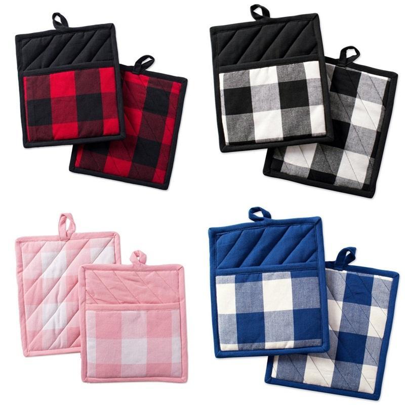 Geschirr Mats Gitter-Muster-Weihnachtswärmeisolierung Handschuhe Multi-Funktions-Pad Küche Hot Verkauf 4 2hr UU