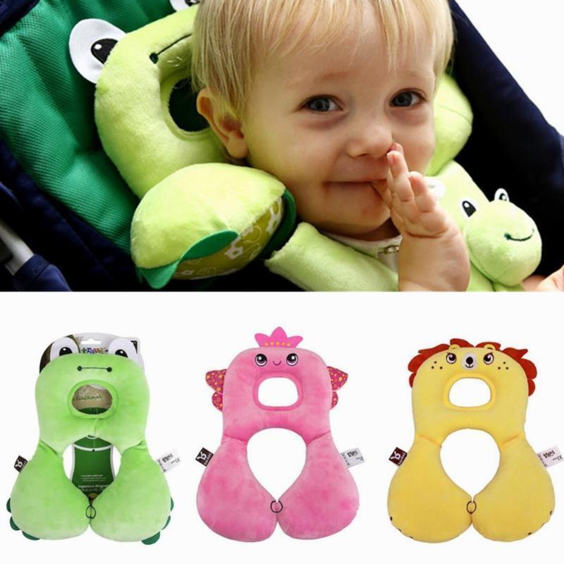 Cute Cartoon Car Seat Headrest Pillow Kids Children Neck Pillow Protector U-Shaped Head Support Cushion Aircraft Travel Portable
