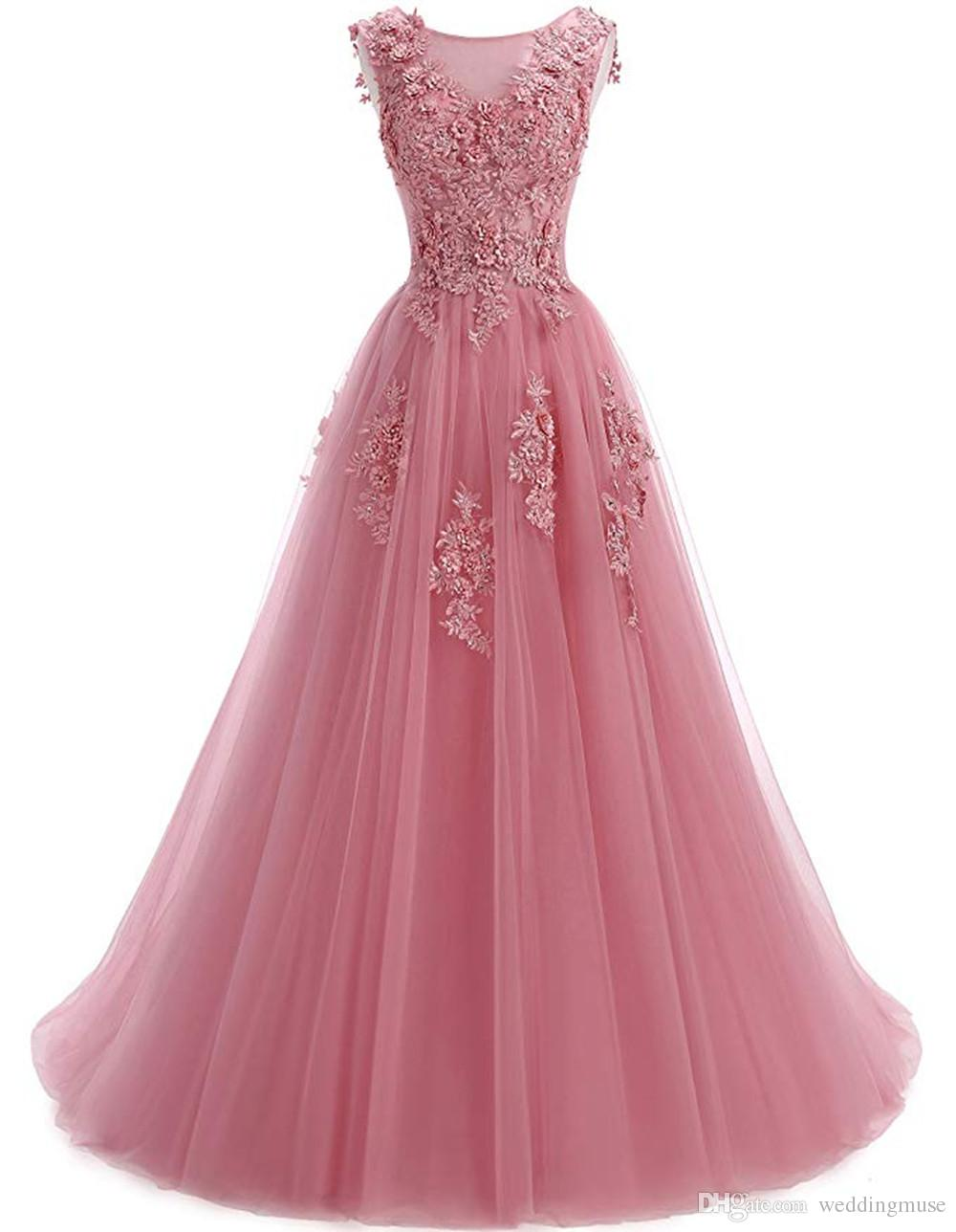 Long Prom Dresses A Line Appliques Lace Sleeveless Blush Pink Evening Party Gown