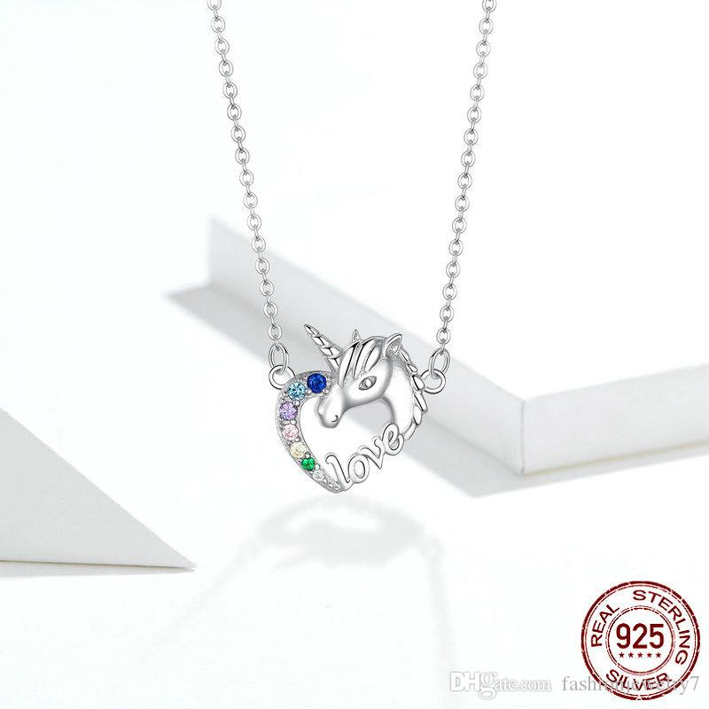 Hot Sale Unique Lucky Licorne Heart Short Neckalce for Women Short Choker 925 Sterling Silver Girl Collier Fashion China Jewelry Factory