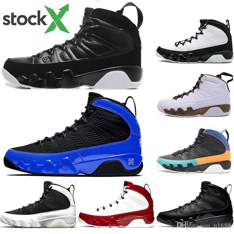 9 nuevos llegan los zapatos de gimnasia 9s Rojo Negro Azul baloncesto de los deportes hombres del diseñador espacio antracita OG mermelada Espíritu zapatillas de deporte los 40-47