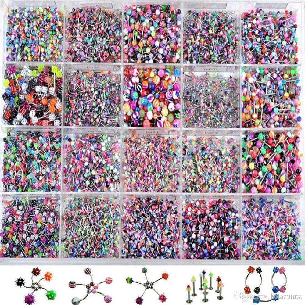 110Pcs Acrylic Stainless Steel Mixed Eyebrow Belly Lip Tongue Bar Rings Nose Hoop Ring Body Piercing Jewelry Barbell Body Jewelry