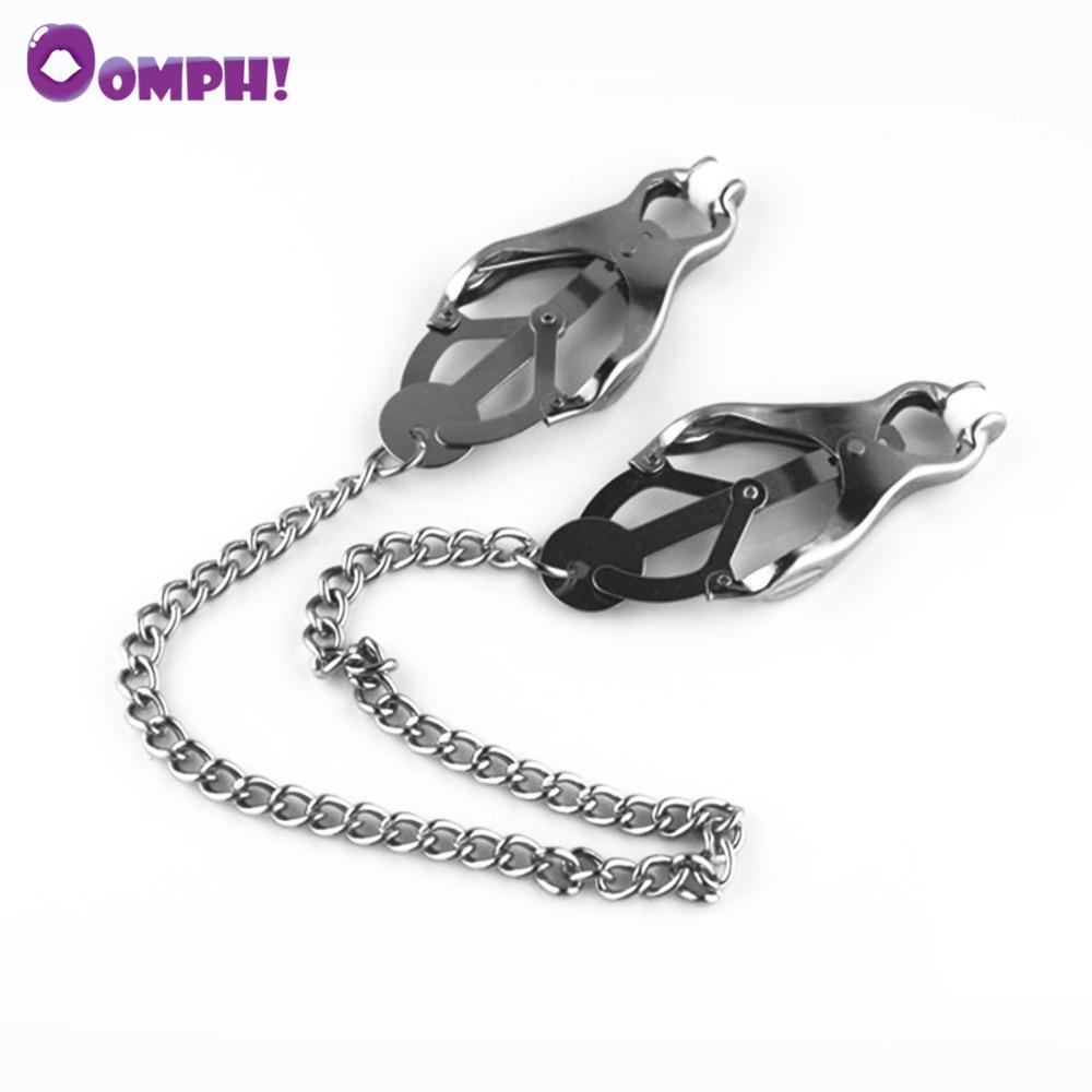 Oomph! Women Metal Chain Nipple Clamps Sex Slave Nipples Clips Bondage Fetish Sex Toys For Couples In Adult Games Sex Products C18122501