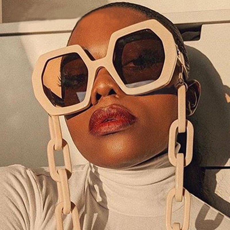 Chic Vintage Polygon цепи Солнцезащитные очки Женщины Новая мода Крупногабаритные шестигранной Солнцезащитные очки Женский Punk очки Мужчины Оттенки S309