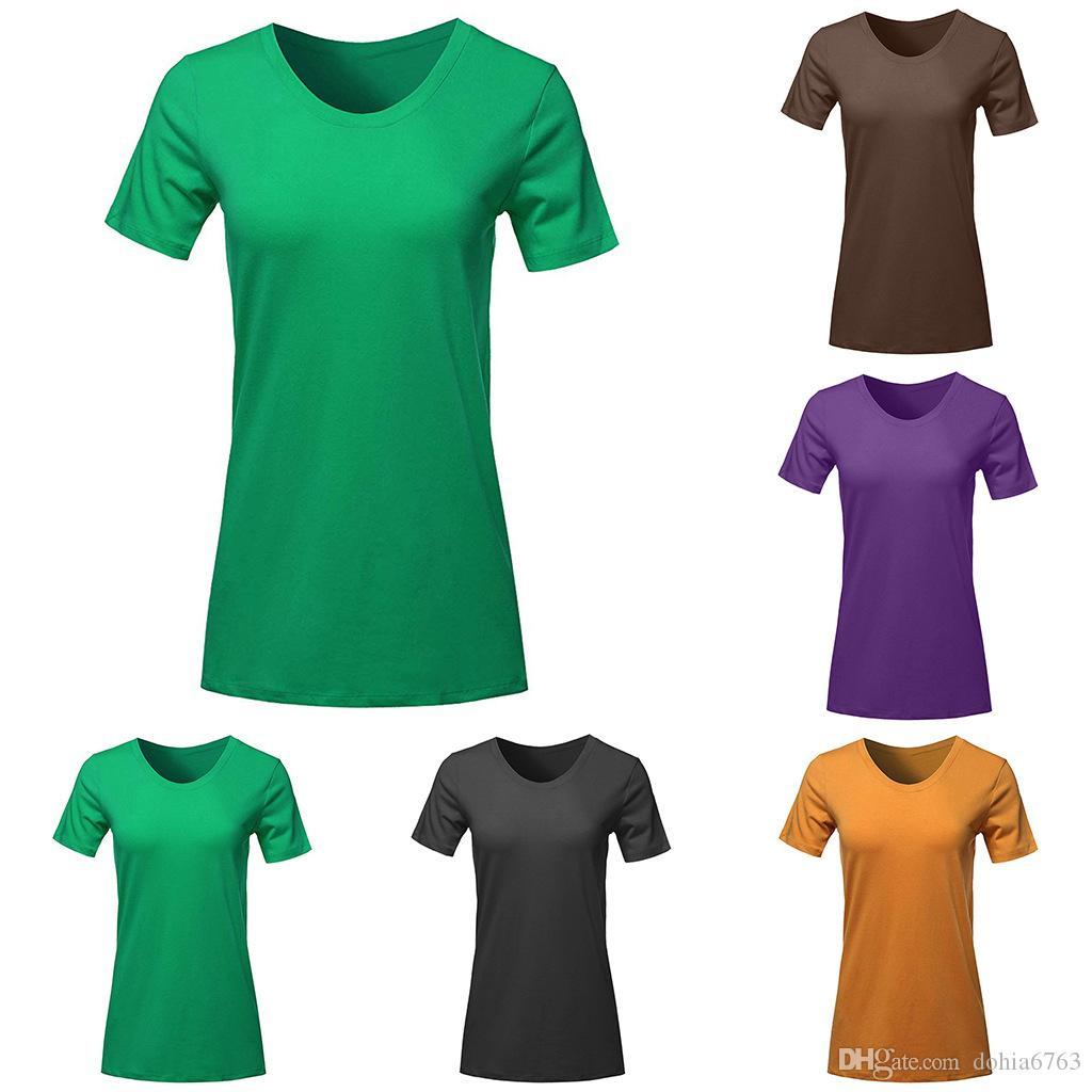 Yaz yeni kadın yönlü düz renk bankası T kısa kollu kadın T-shirt siyah yeşil mavi renk