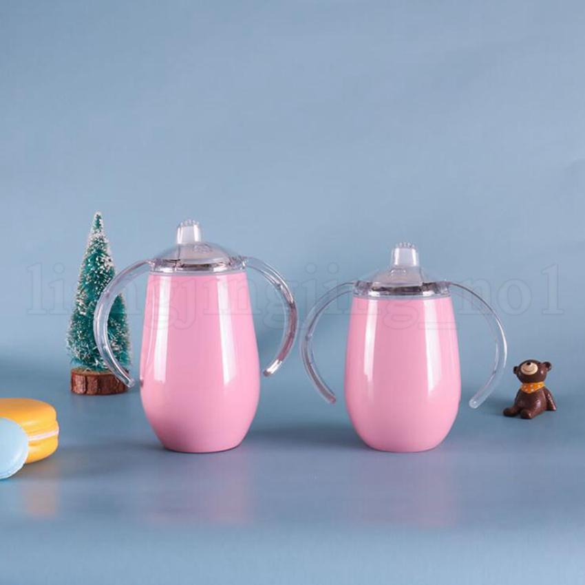 Edelstahl mit doppeltem Griff Becher 8 Unzen 12 Unzen Sippy eiförmige Vacuum Insulated Außen Wein Biergläser Milch Cups 25er OOA6344