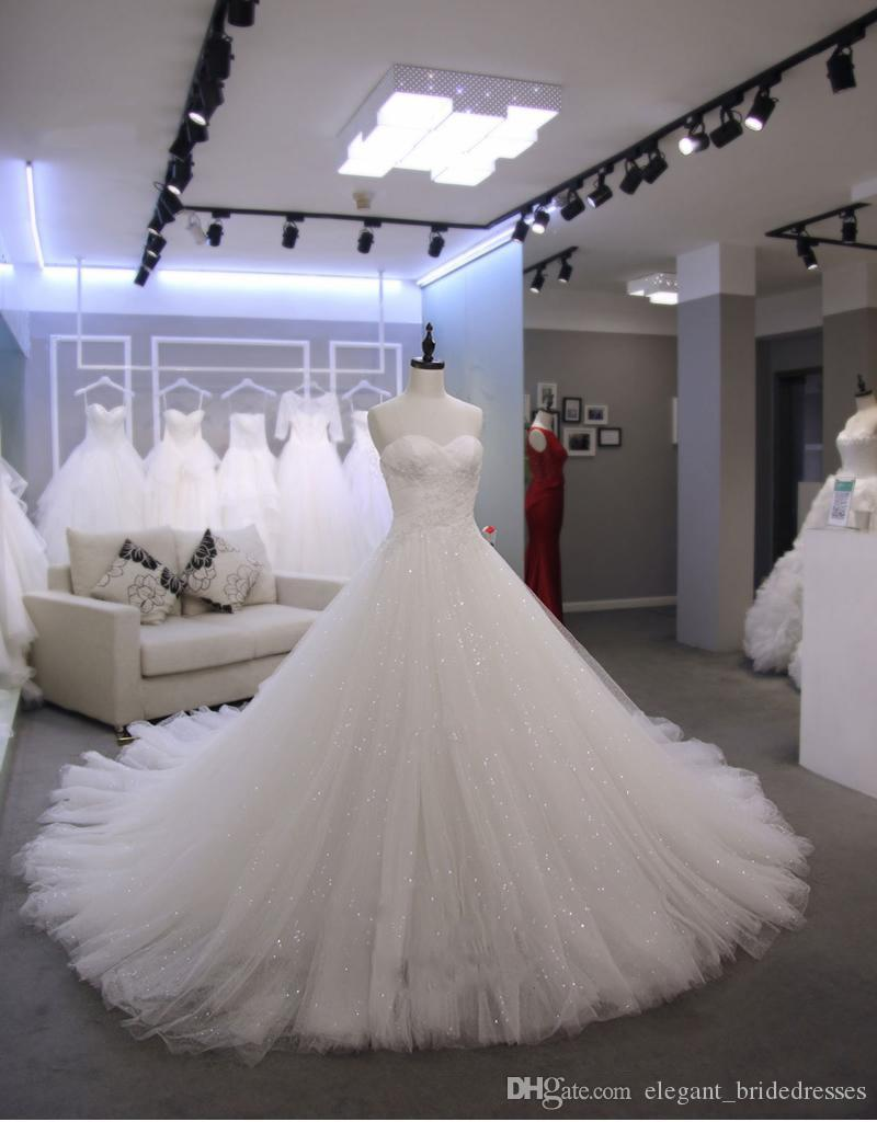 2019 Charming A-line Wedding Dreess Sweetheart Neckline Real Photos Zipper Back Chapel Train Custom Made Plus Size With Lace Appliques