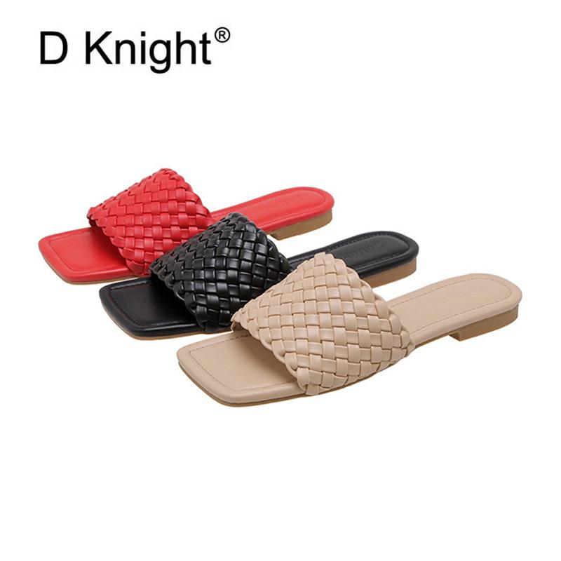 2020 Verão New Woven Sandals Casual Praia Flast Chinelos Shoes Moda Mulher Abrir Toe Slip On Lady Slides Shoes Sandals Tamanho 40