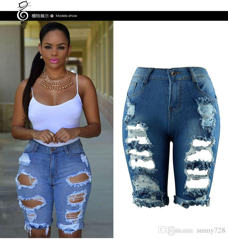 2020 Hot Sale Summer Short Jeans for Women Girls S--3XL Holes Ripped Denim Shorts with Pockets Zipper Fly Straight Shorts 3 Colors