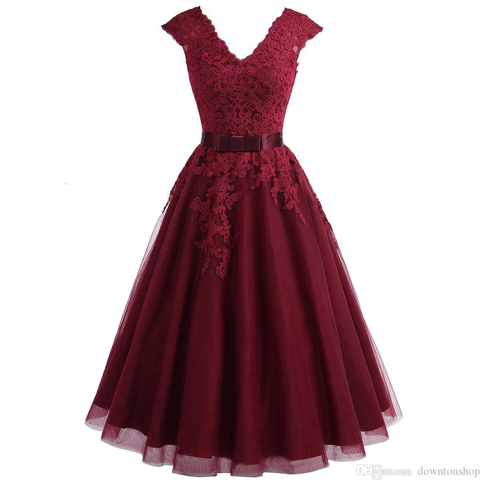 2019 Cheapest Tea Length Burgundy bridesmaid Dress Short V Neck Lace Homecoming Dress With cap Sleeves Plus Graduation Dresses party Gowns