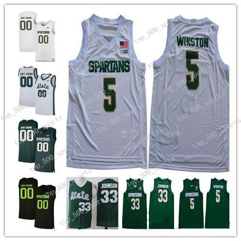 맞춤형 2020 MSU Michigan State Spartans Basketball Jersey 모든 이름 번호 5 Cassius Winston 20 Matt McQuaid 33 Johnson Green College Jerseys