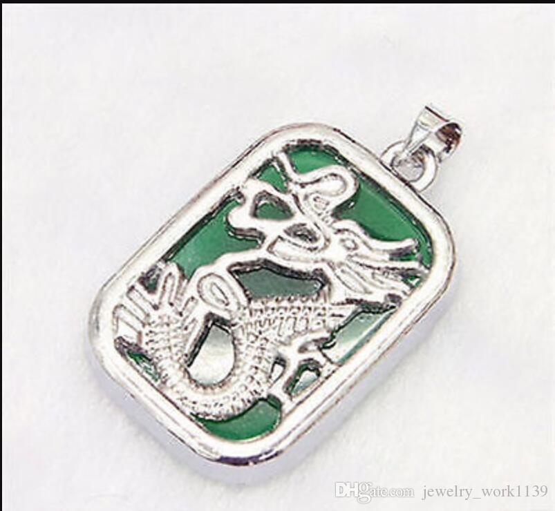 collana Trasporto libero ++++ Nuovo verde giada placcato argento drago totem pendente collana pendente + catena