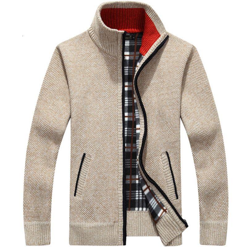 Hombres grueso de Cárdigan de punto Prendas de punto invierno del otoño del collar del soporte de la cremallera capa del suéter caliente sólido ocasional rebeca del Mens Outwear masculino SH190930