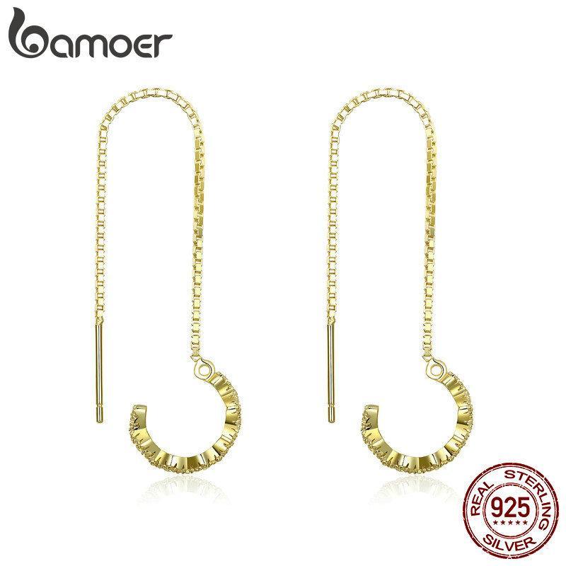 BAMOER 925 стерлингового серебра приманка длинная цепь золотой цвет геометрические серьги падения для женщин подлинные серебряные ювелирные изделия SCE468