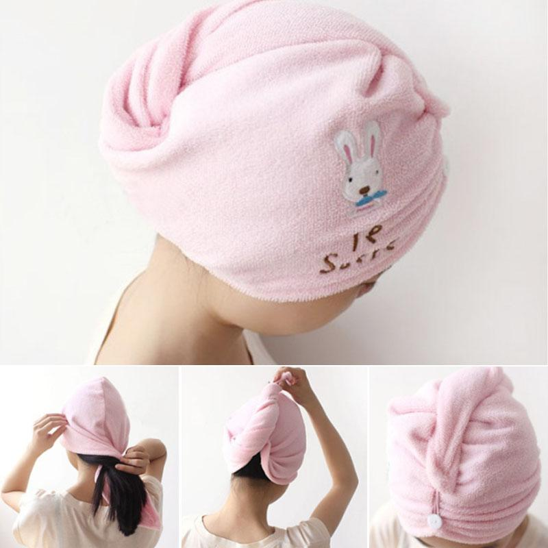 Cute Super Absorbent Lovely Magic Hair Head Wrap Microfiber Bathrobe Hat Hair-Drying Cap Quick Dry 1PC Hair Towel Bathroom Tools