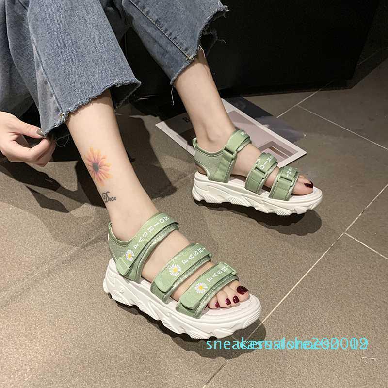 Verão Mulheres malha Esporte Sandals Carta Decoração Abrir Toe Casual Platform Wedge Sandals Mulheres Outdoor Praia Shoes 2020 S09