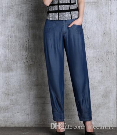 Новая мода Tencel джинсы случайные шаровары брюки женщин высокой талией капри женские шаровары плюс размер черный синий seb0901