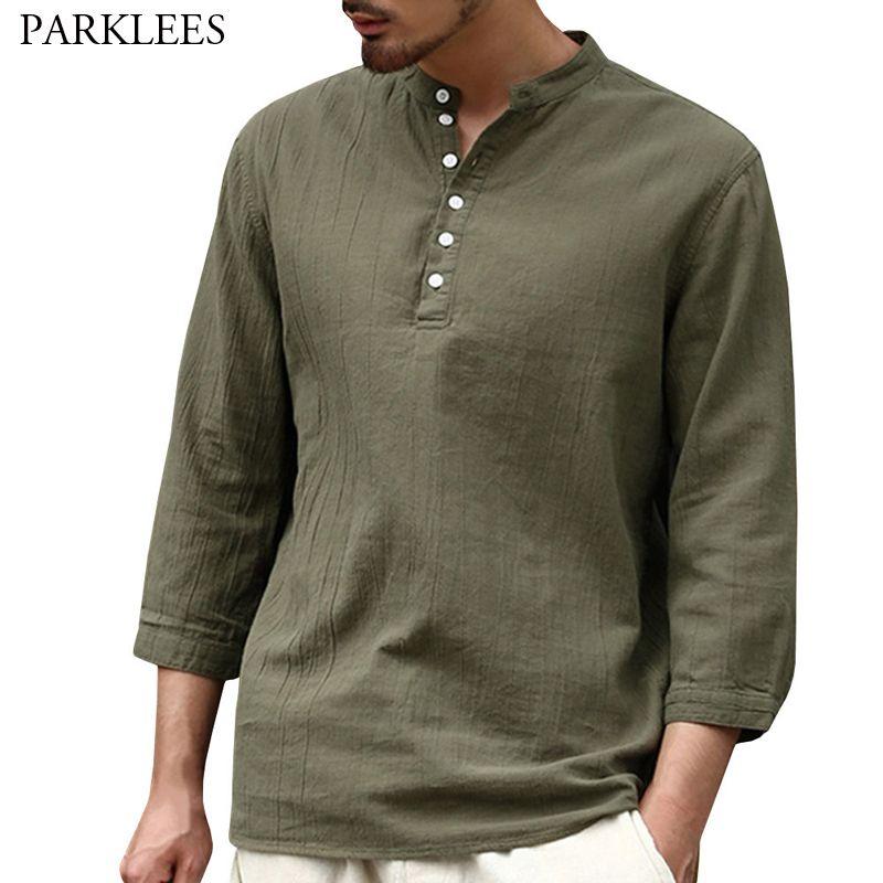 Мужские повседневные рубашки армия зеленая хлопчатобумажная белье рубашка мужчины мода наполовину кнопки 3/4 рукав пуловер мужская легкая верхняя блузка Cheimise 3XL