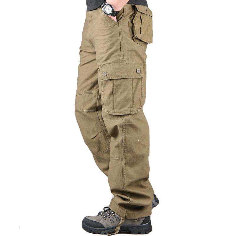 Tulumları Erkekler Kargo Pantolon Günlük Çoklu Cepler Askeri Parça Taktik Pantolon Pantalon Hombre Erkek Sweatpants Düz Pantolon V191026