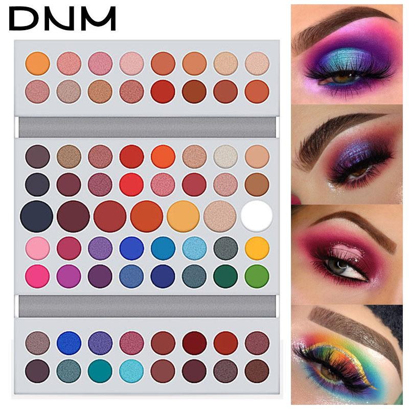 mulheres DNM cosméticos sombra em pó 71 cores net paleta 69g brilho impermeável fosco beleza olho shaodw