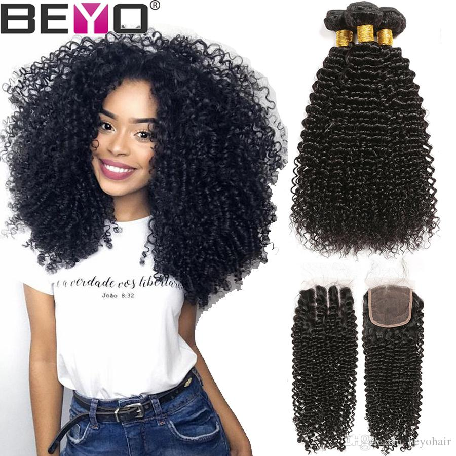 Indian Hair Bundles With Closure Human Hair 3 Bundles With Closure Afro Kinky Curly Hair With 4x4 Lace Closure Remy Beyo