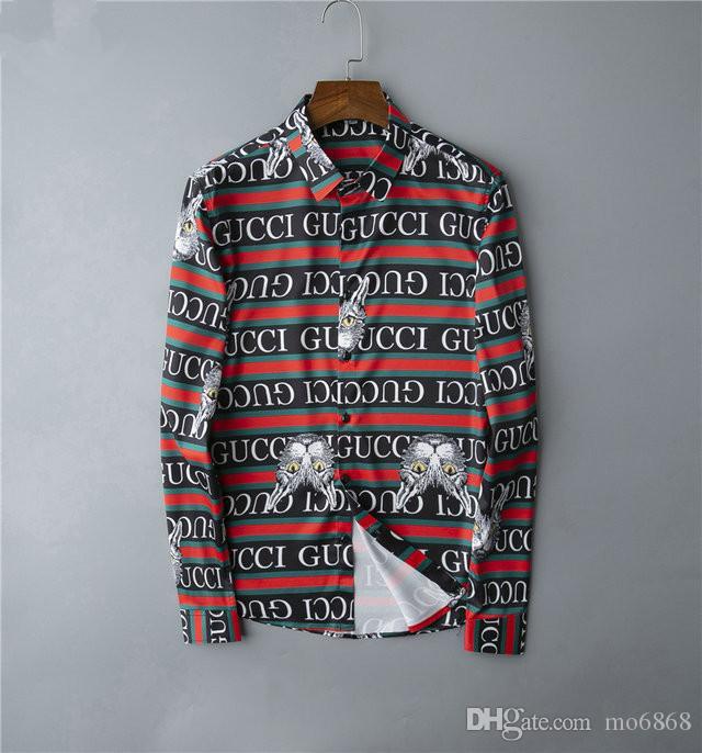 2020 créateur de mode tuxedo or chemise hommes chemise mince manches longues casual sociale baroque hommes shirt # 037