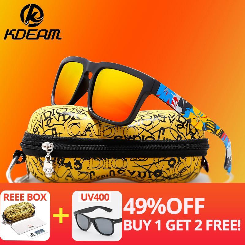KDEAM Accrocheur Fonction lunettes de soleil polarisées pour les hommes Marque Graffiti Lunettes jambe Lunettes de soleil UV Lunettes Homme Lunettes de soleil XH2