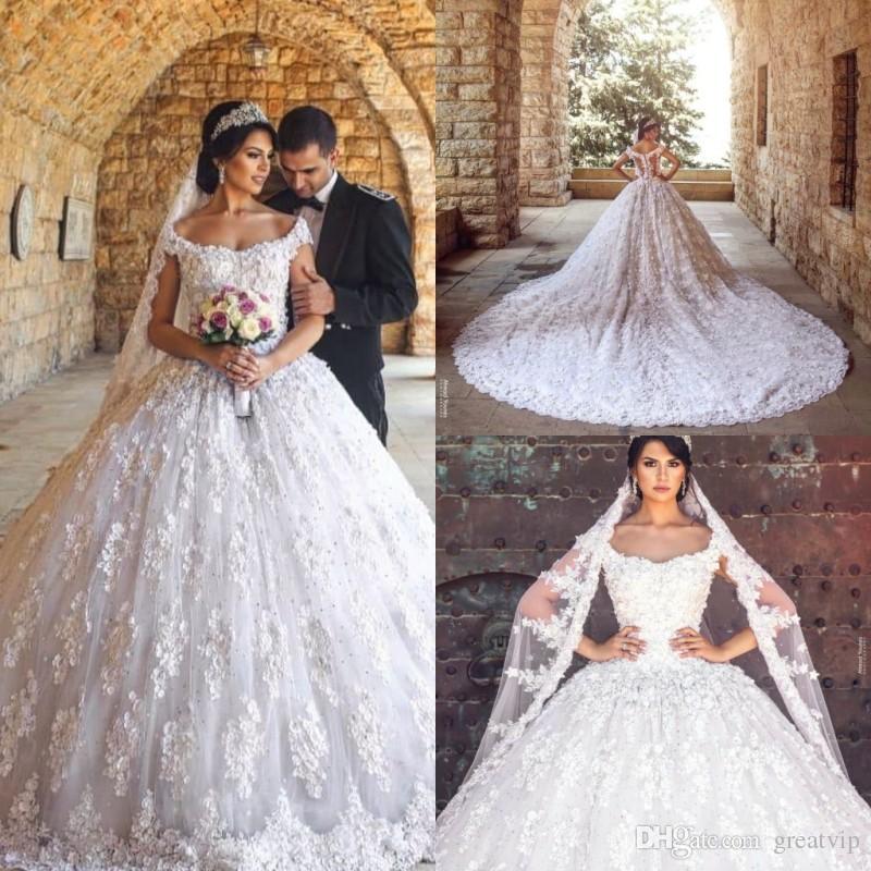 Compre 2019 De Lujo Del Vestido De La Princesa Bola Vestidos De Novia De Los Granos Del Cordón De La Cucharada Tribunal Tren Vestidos De Novia Más El