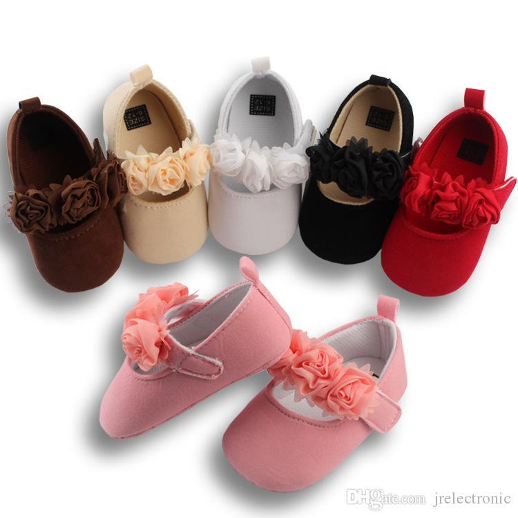 جميل الزهور الطفل الوليد طفل فتاة سرير أحذية عربة لينة وحيد أحذية أطفال prewalker مكافحة زلة 0-18 متر
