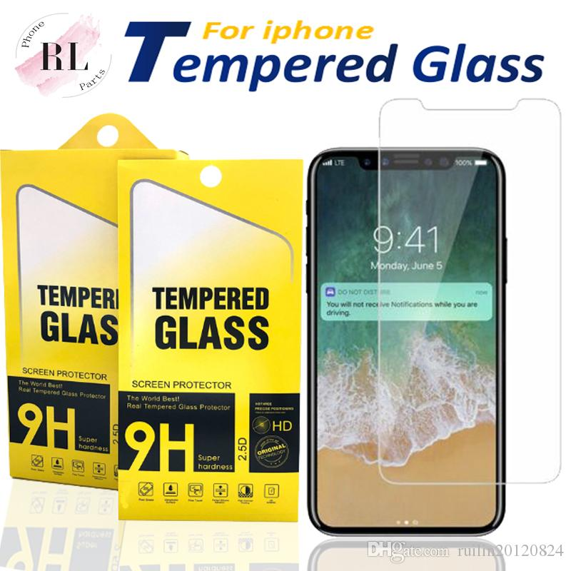 Protector de pantalla para iPhone Pro X 11 X Max XR 7 8 vidrio templado para el primer Samsung J7 J5 con caja de papel