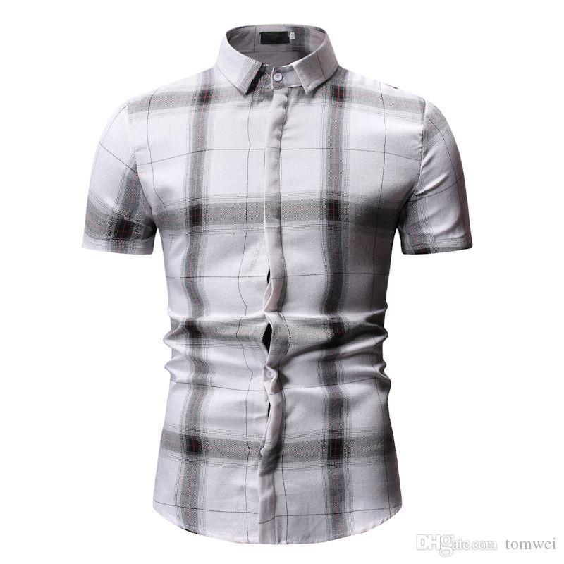 Fashion Men/'s Summer Casual Dress Shirt Mens Plaid Short Sleeve Shirts Tops Tee
