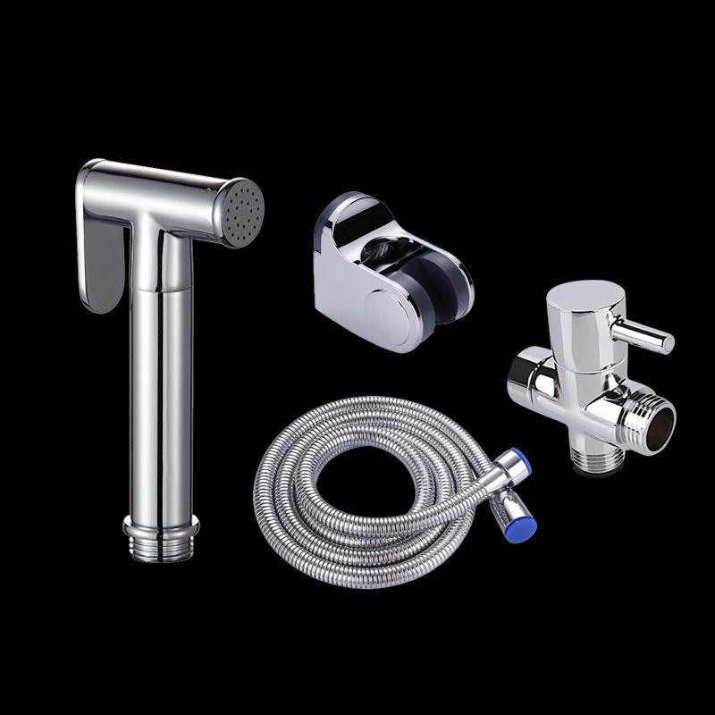 Portatif Tuvalet Bide Musluk El Tuvalet Bide Püskürtme Kiti Seti Bakır Banyo Bide Sprey Duş Başlığı Hortum T-adaptör Tutucu