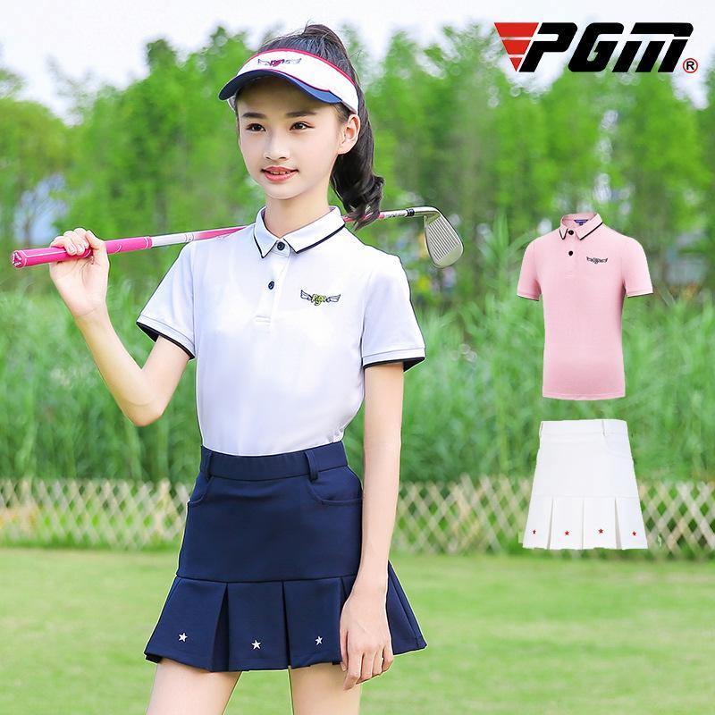 PGM Filles Golf d'été Jupes Ensemble chemise à manches courtes Jupe plissée étoile Filles séchage rapide Fitness Vêtements de golf D0786