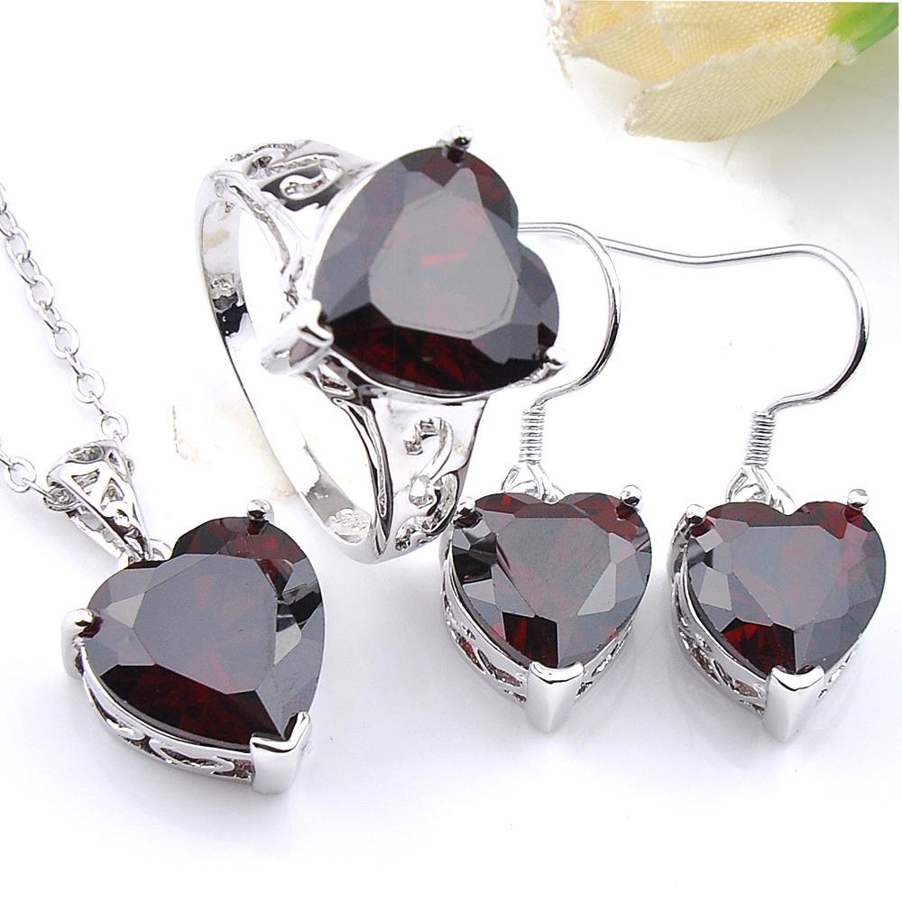 Luckyshine 3 st set classic vintage smycken set röd kärlek hjärta granat pärlor silver hänge ring örhänge för kvinnor bröllop set gratis shippings