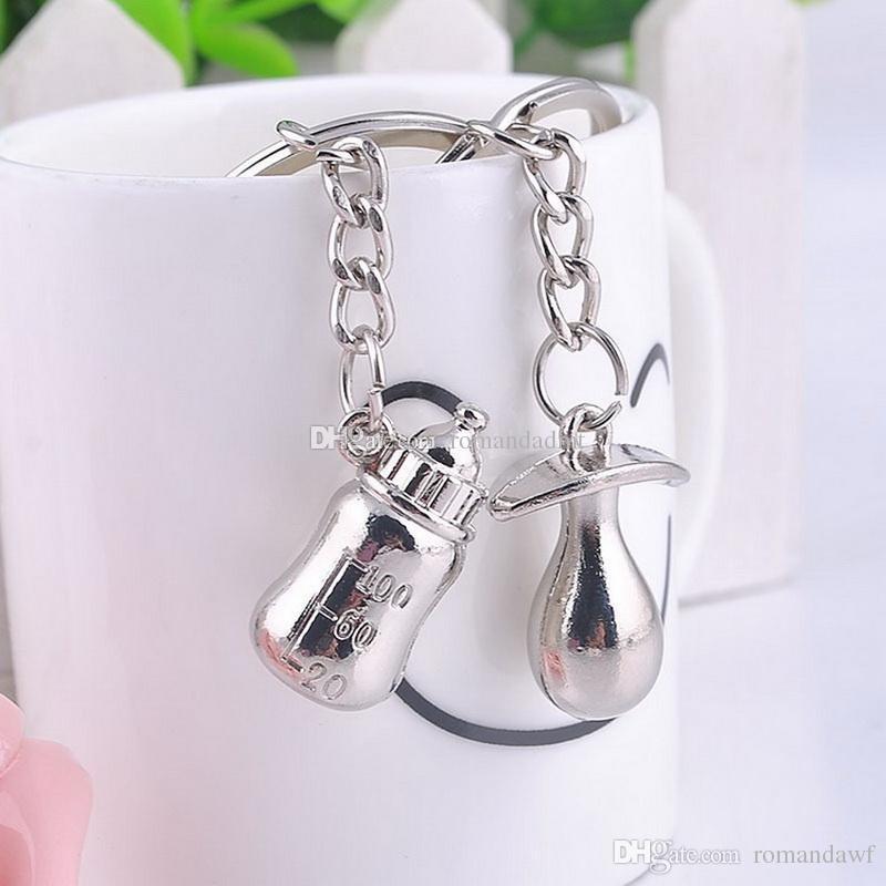 Flasche und Nippel-Schlüsselkette-Metallbabyflasche und Friedensstifter-Schlüsselbund-Schlüsselring-Babyparty-Hochzeit Bevorzugungen +