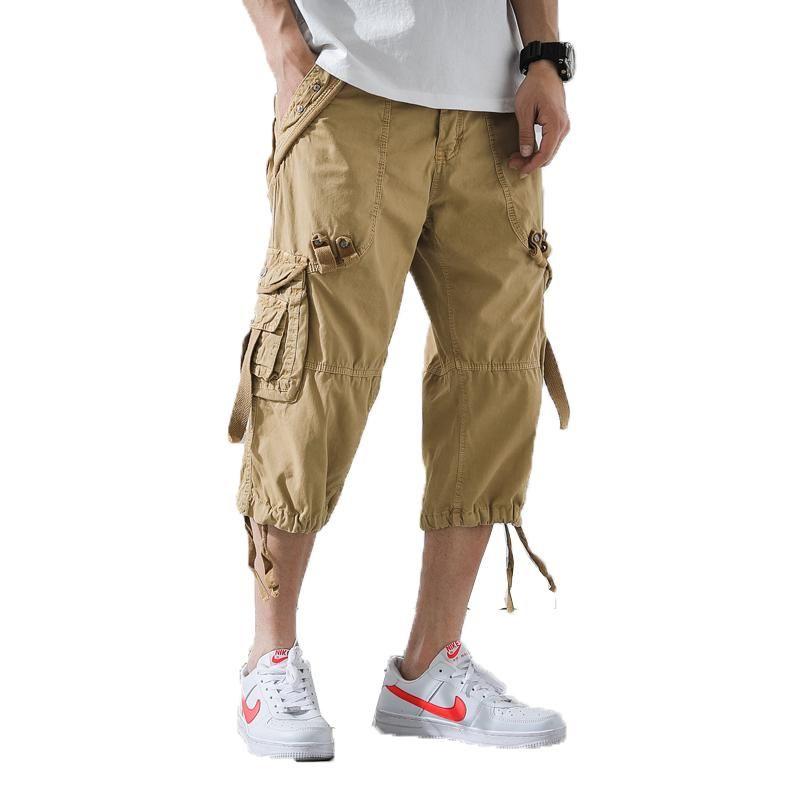 الرجال الشحن سروال رجالي عادية العجل طول سروال فضفاض رجل بنطلون المحصولية متعدد جيب تبث ملابس الرياضية ذكر قصيرة 40