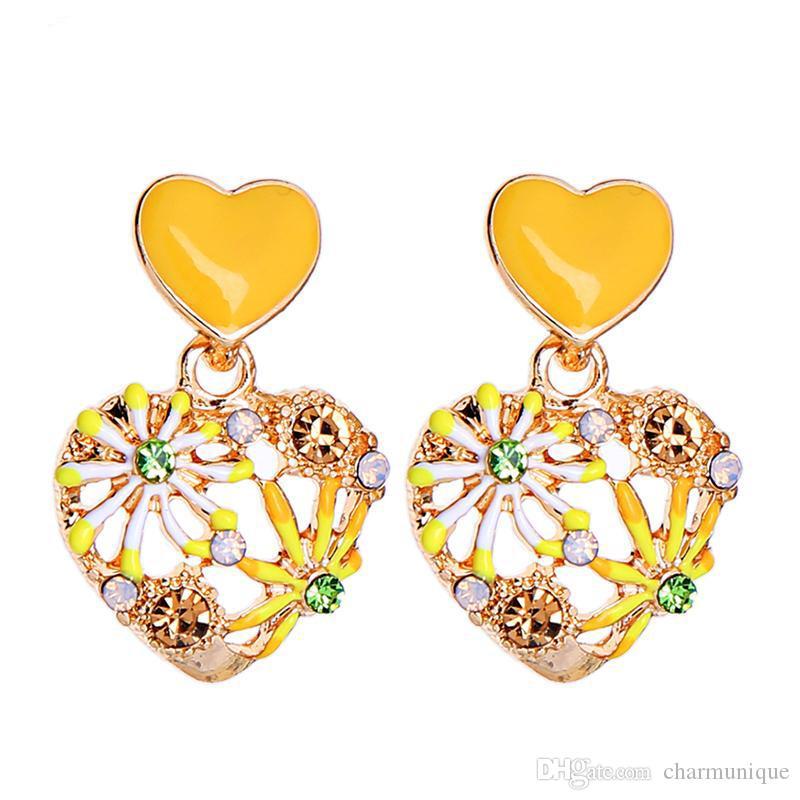 Kissme серьги сердца Прекрасные моды Эмаль Rhinestone мотаться серьги женщин Ювелирные аксессуары