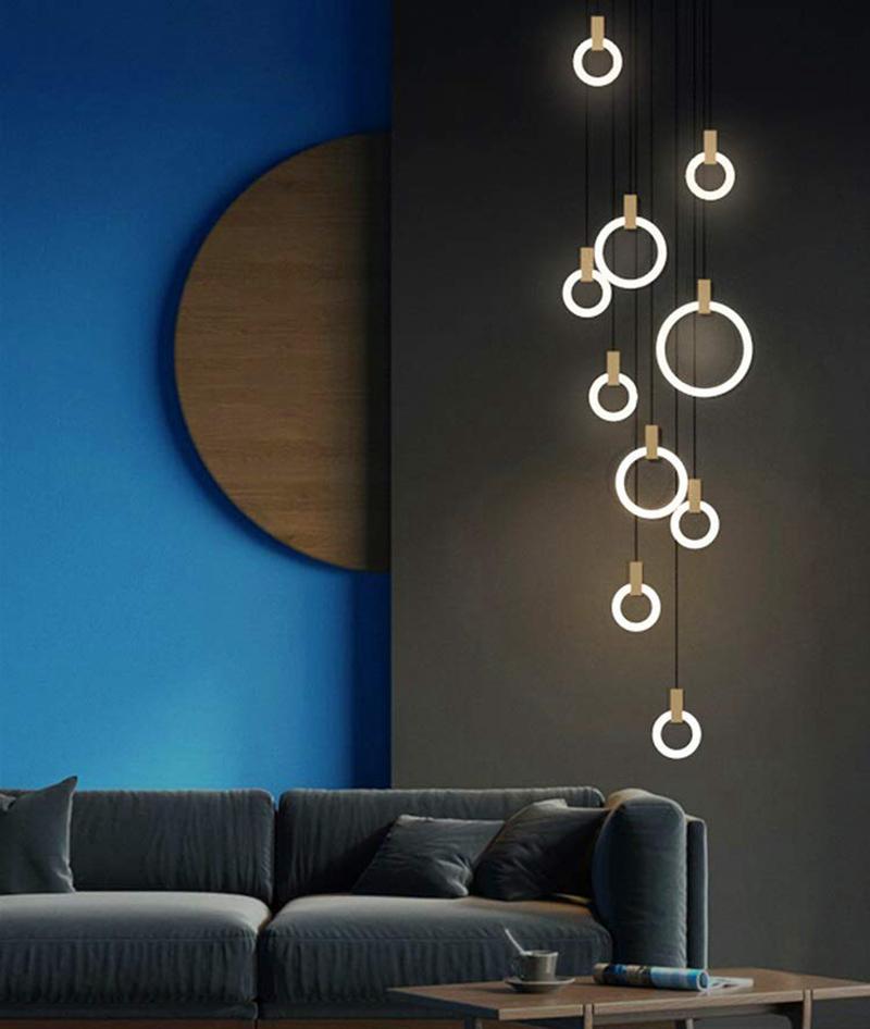 الحديث LED الثريا السقف الشمال قلادة غرفة المعيشة مصابيح غرفة نوم خواتم الاكريليك التركيبات شنقا درج الإضاءة الخشب الأنوار، 10