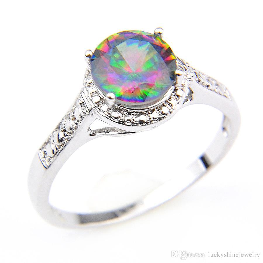 Anillo Luckyshine el fuego etiquetas del arco iris Mystic Topaz anillos de la vendimia clásicos de ley 925 de circón mujeres del amante por un partido del tamaño del boda de vacaciones 7 8 9