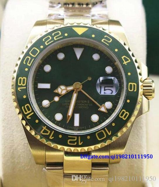 Рождественский подарок оригинальный футляр сертификат мужские наручные часы золото ремешок из нержавеющей стали зеленый циферблат керамический безель с датой 40 мм 116710 /116719/ 3