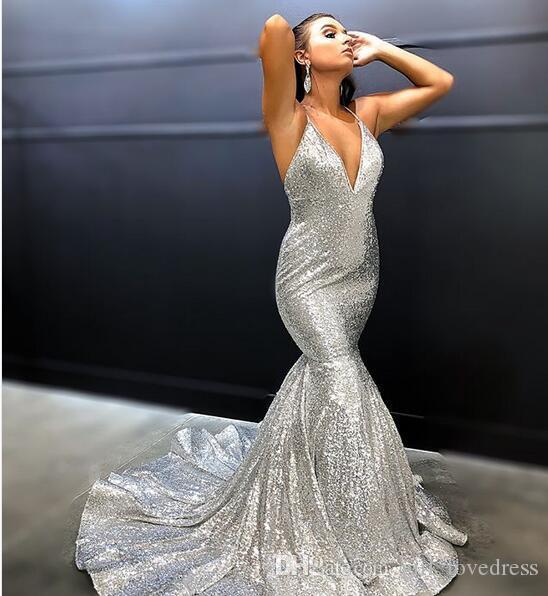 Sexy de las mujeres con cuello en V sirena larga de plata con lentejuelas vestidos de noche Robe De Soiree Sweep tren correas vestidos de baile Vestido De Festa