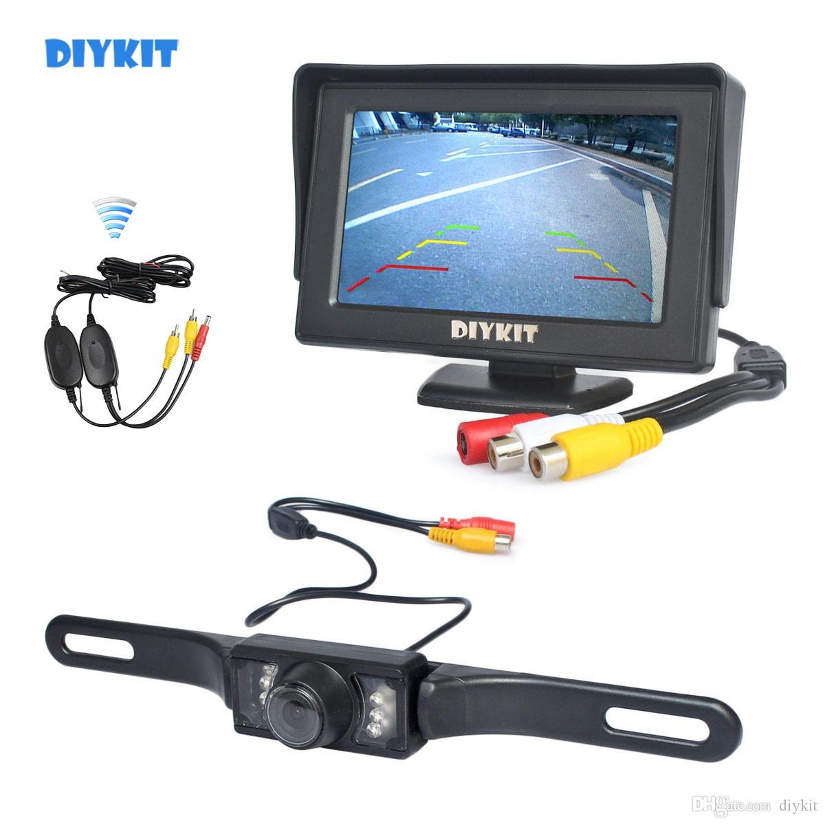 DIYKIT 4.3inch Color TFT LCD Car Monitor + IR Night Vision HD CCD Rear View Car Camera Wireless Parking Assistance System