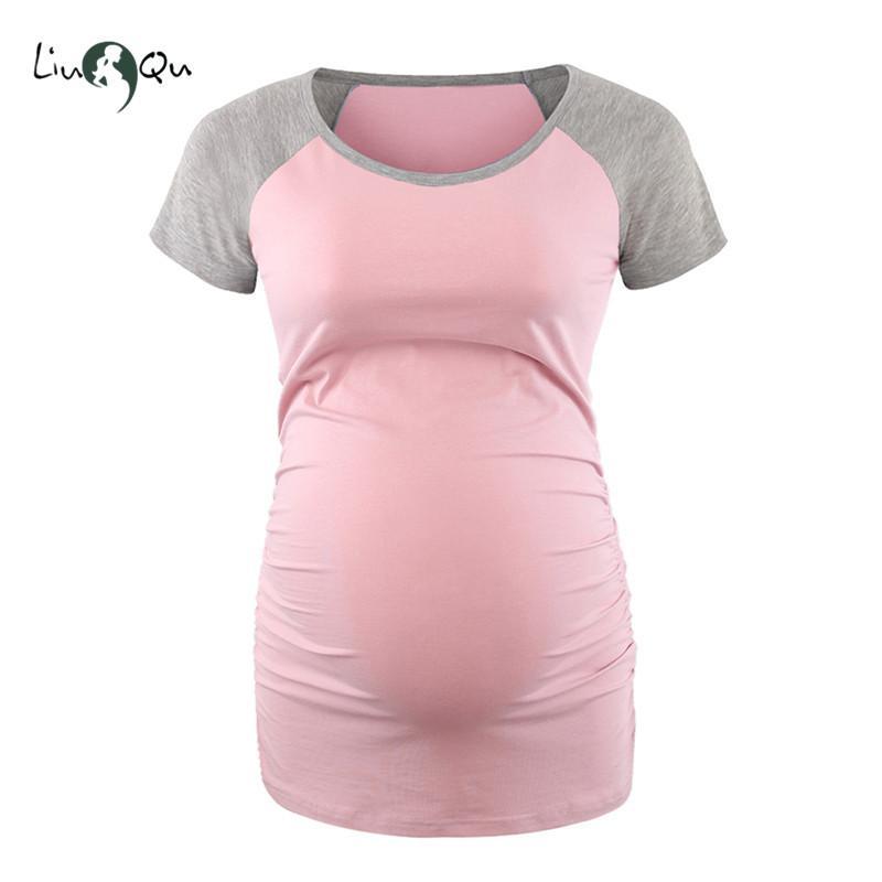 Vêtements enceintes des femmes ras du cou à manches raglan Patckwork Vêtements de maternité Top grossesse shirt Ropa Premama Embarazadas