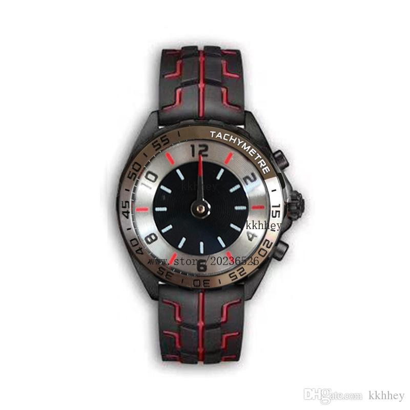 YENİ lüks erkek siyah çelik kasa kauçuk kayış F1 yarış izle spor kuvars Fonksiyonlu kronograf takvimi saatı Montre saatler