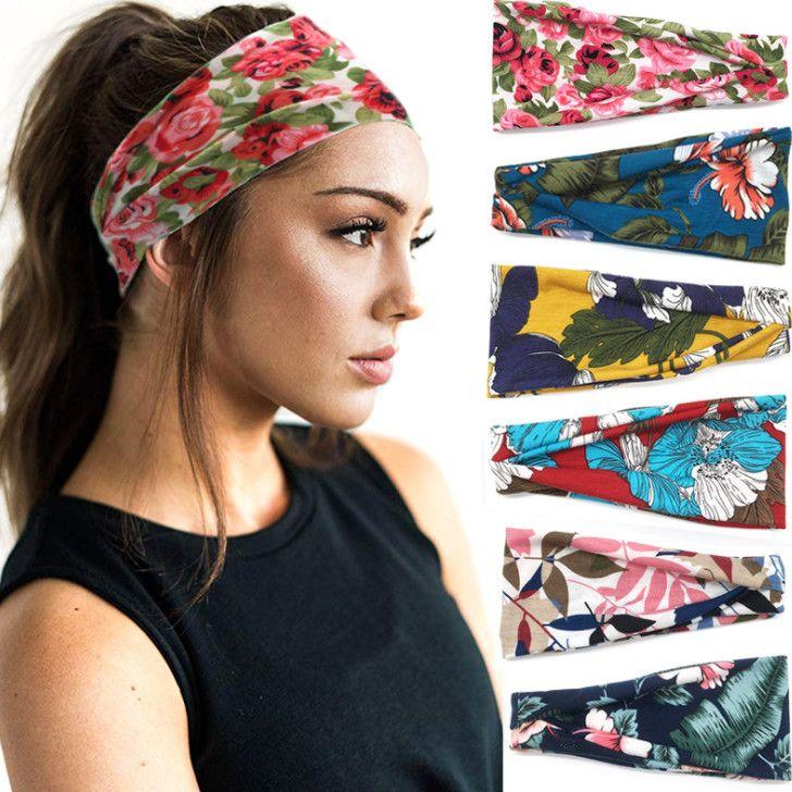 120 pcs Impresso flor esporte hairband mulher yoga headband Homens Esportes Yoga Sweatband Ginásio Estiramento Headband Faixa de Cabelo aptidão