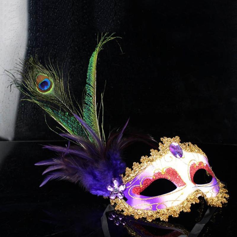 Yüksek Kalite Zarif Gizem Peacock Tüyler Venedik Dans Maske Masquerade Noel Cadılar Bayramı doğum günü partisi Aksesuarları E