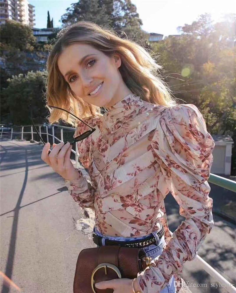 Designer de marca de Luxo Mulheres Blusa Com Painel de 2019 Primavera Verão Moda High Street Stand Puff Gola de Manga Longa Camisas Do Partido Cocktail Tops