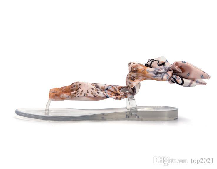 Frauen Sommer Sandalen klassischen kühlen Kristall flachen Boden römischen Seidenschal Flip-Flop Sandalen Strand ins Modemarke Jelly PVC Strand Sandalen